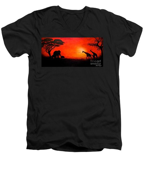 Men's V-Neck T-Shirt featuring the painting Sunset At Serengeti by Sher Nasser
