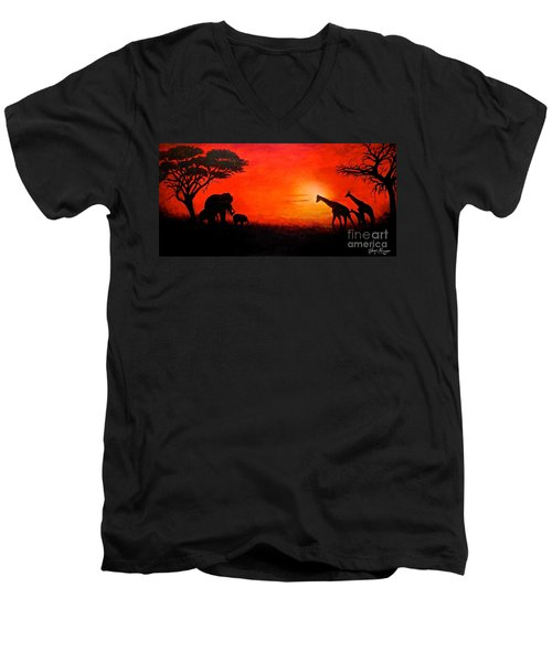 Sunset At Serengeti Men's V-Neck T-Shirt