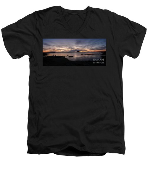 Sunset Over Lake Myvatn In Iceland Men's V-Neck T-Shirt