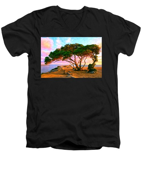 Sunset At The Wedge In Newport Beach Men's V-Neck T-Shirt by Michael Pickett