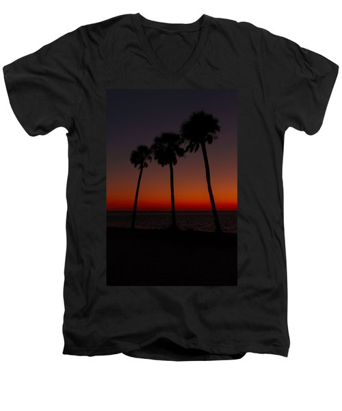 Sunset Beach Silhouette Men's V-Neck T-Shirt