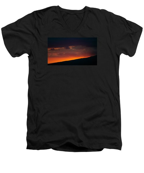 Men's V-Neck T-Shirt featuring the photograph Sunset Beyond The Waianae Mountain Range by Lehua Pekelo-Stearns