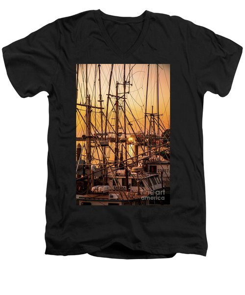 Sunset Boat Masts At Dock Morro Bay Marina Fine Art Photography Print Sale Men's V-Neck T-Shirt by Jerry Cowart