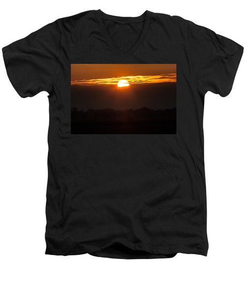 Men's V-Neck T-Shirt featuring the photograph Sunset by Brian Williamson