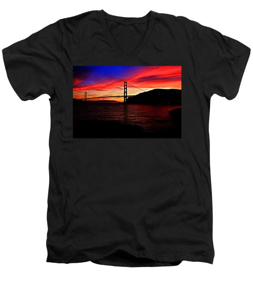 Sunset By The Bay Men's V-Neck T-Shirt by Dave Files