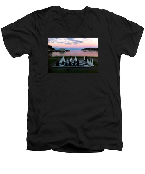 Sunset Chess At Half Moon Bay Men's V-Neck T-Shirt by Venetia Featherstone-Witty