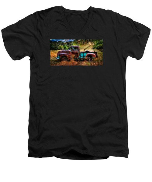 Sunset Chevy Pickup Men's V-Neck T-Shirt by Ken Smith