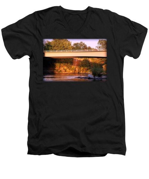 Men's V-Neck T-Shirt featuring the photograph Sunset Dip by Melanie Lankford Photography