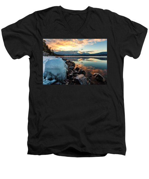 Men's V-Neck T-Shirt featuring the photograph Sunset Frozen by Aaron Aldrich