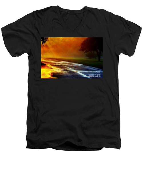 Sunset Glint In The Mist Men's V-Neck T-Shirt
