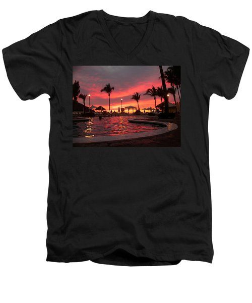 Men's V-Neck T-Shirt featuring the photograph Sunset In Paradise by Shane Bechler