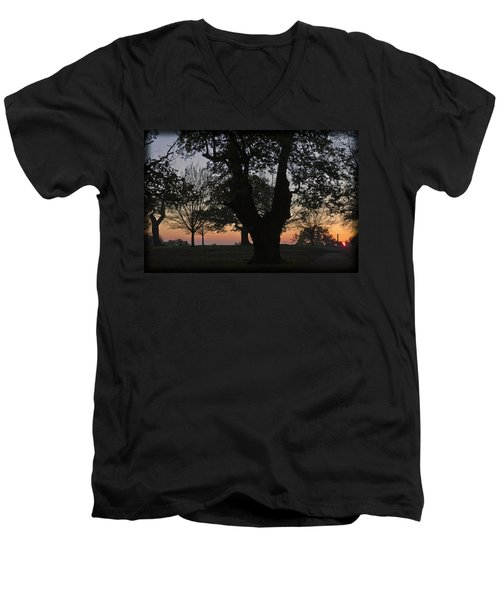 Sunset In Richmond Park Men's V-Neck T-Shirt by Maj Seda