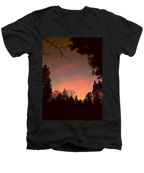 Sunset In Winter Men's V-Neck T-Shirt by Michele Myers