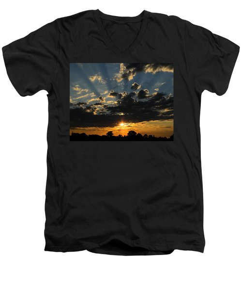 Dark Sunset Men's V-Neck T-Shirt by Mark Blauhoefer