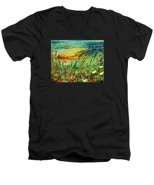 Sunset Meadow Series Men's V-Neck T-Shirt