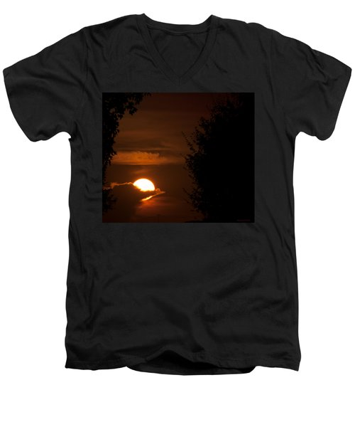 Sunset Men's V-Neck T-Shirt by Miguel Winterpacht