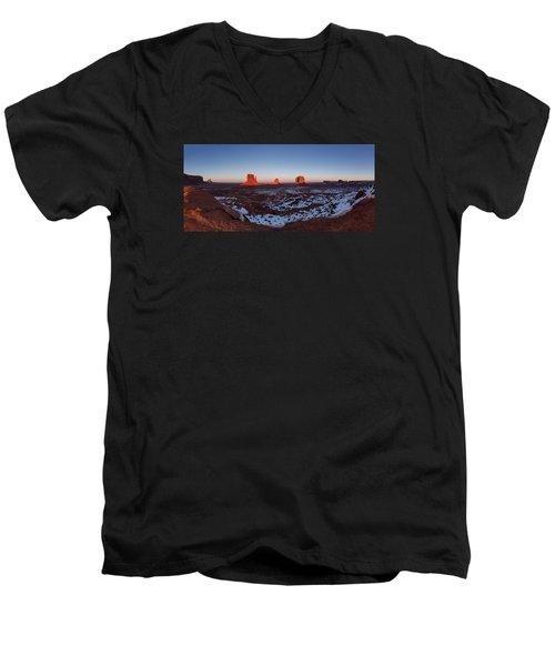 Sunset Moonrise Men's V-Neck T-Shirt by Tassanee Angiolillo