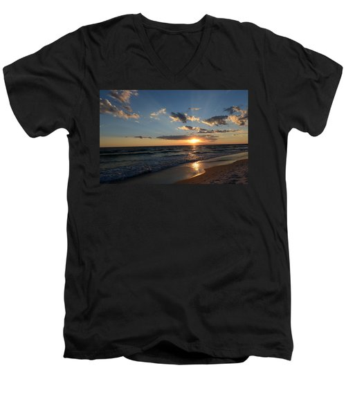 Men's V-Neck T-Shirt featuring the photograph Sunset On Alys Beach by Julia Wilcox
