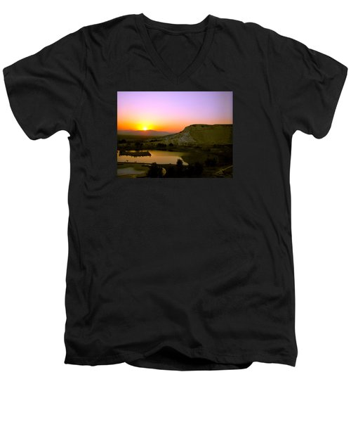 Men's V-Neck T-Shirt featuring the photograph Sunset On Cotton Castles by Zafer Gurel