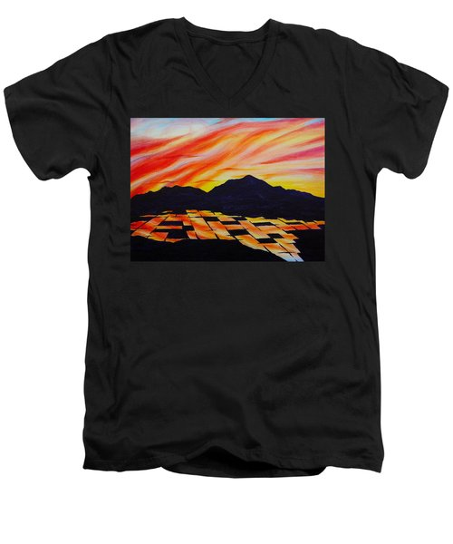 Sunset On Rice Fields Men's V-Neck T-Shirt by Michele Myers