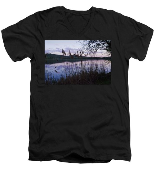 Men's V-Neck T-Shirt featuring the photograph Sunset On Rockland Lake - New York by Jerry Cowart