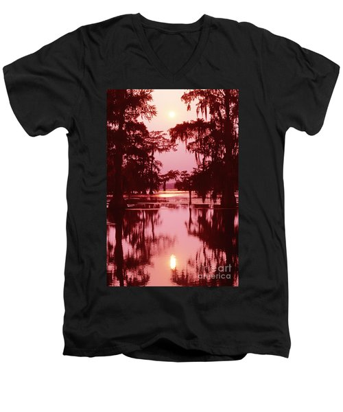 Men's V-Neck T-Shirt featuring the photograph Sunset On The Bayou Atchafalaya Basin Louisiana by Dave Welling