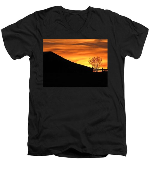 Men's V-Neck T-Shirt featuring the photograph Sunset On The Farm by Greg Simmons