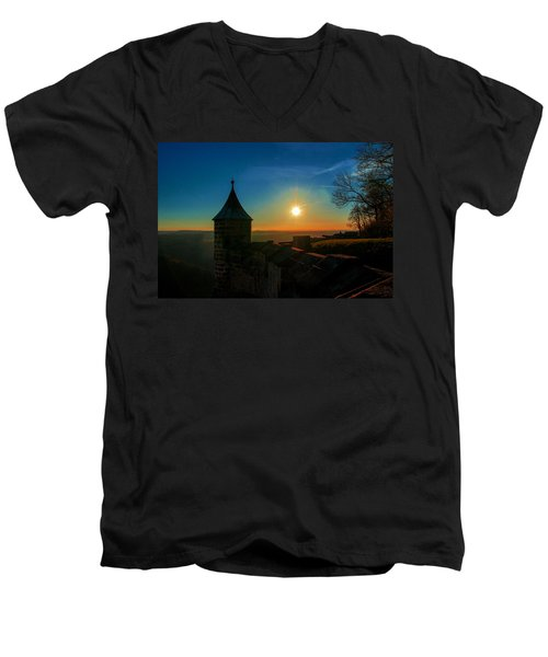 Sunset On The Fortress Koenigstein Men's V-Neck T-Shirt