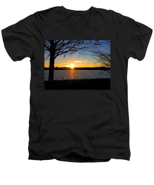 Sunset On The Potomac Men's V-Neck T-Shirt by Emmy Marie Vickers