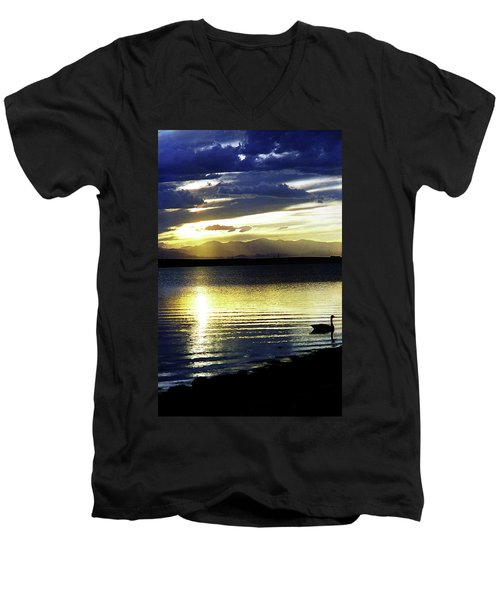 Sunset Over Aurora Men's V-Neck T-Shirt