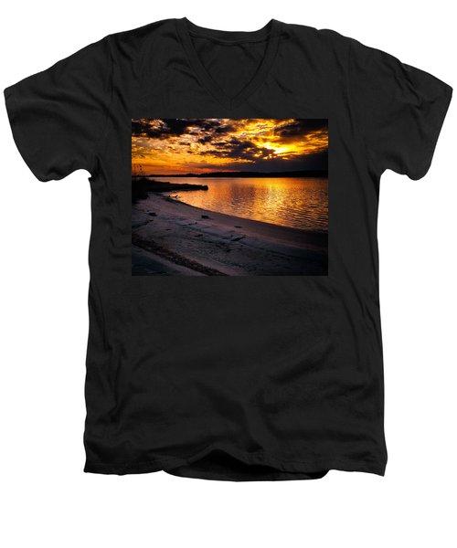 Sunset Over Little Assawoman Bay Men's V-Neck T-Shirt