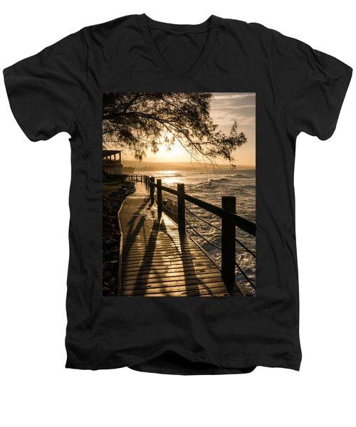 Sunset Over Ocean Walkway Men's V-Neck T-Shirt