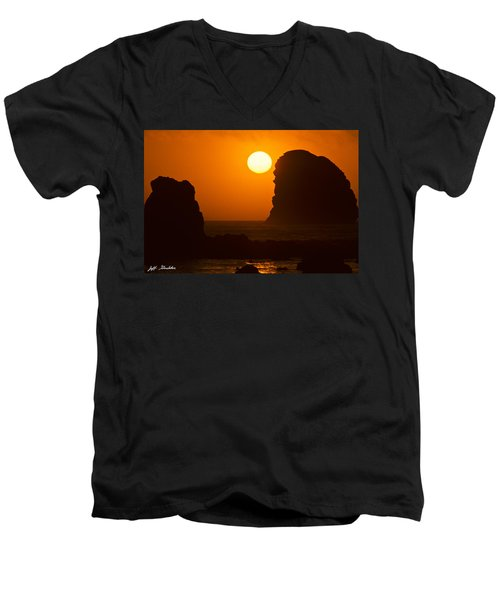 Sunset Over The Pacific Ocean With Rock Stacks Men's V-Neck T-Shirt by Jeff Goulden