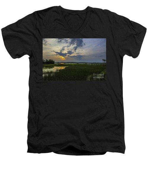Sunset Over The Wando Men's V-Neck T-Shirt