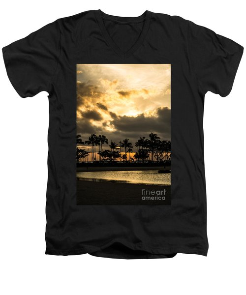 Men's V-Neck T-Shirt featuring the photograph Sunset Over Waikiki by Angela DeFrias