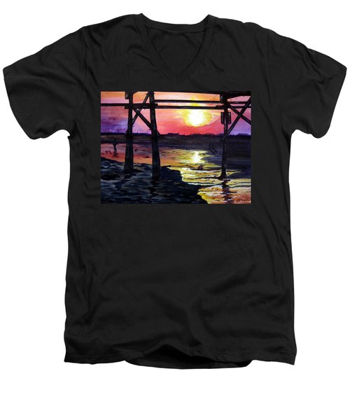 Sunset Pier Men's V-Neck T-Shirt by Lil Taylor