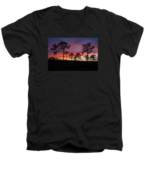 Men's V-Neck T-Shirt featuring the photograph Sunset Pines by Paul Rebmann