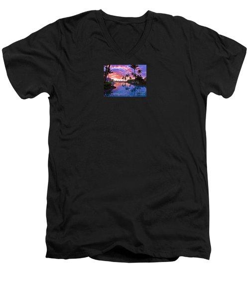 Sunset Reflection St Regis Pool Men's V-Neck T-Shirt by Michele Penner