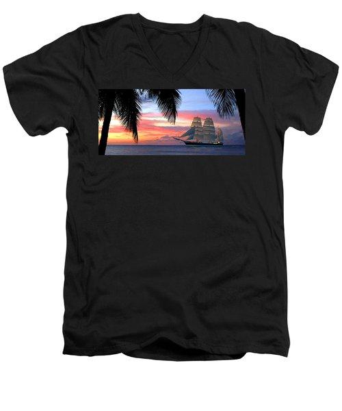 Sunset Sailboat Filtered Men's V-Neck T-Shirt