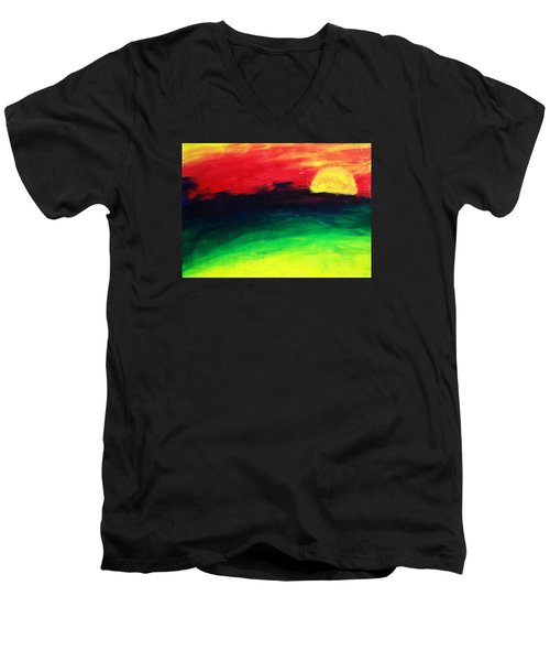 Men's V-Neck T-Shirt featuring the painting Sunset by Salman Ravish