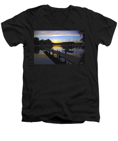 Men's V-Neck T-Shirt featuring the photograph Sunset Silhouette by Brian Wallace