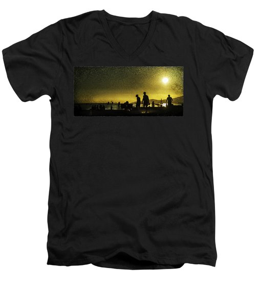 Men's V-Neck T-Shirt featuring the photograph Sunset Silhouette Of People At The Beach by Peter v Quenter