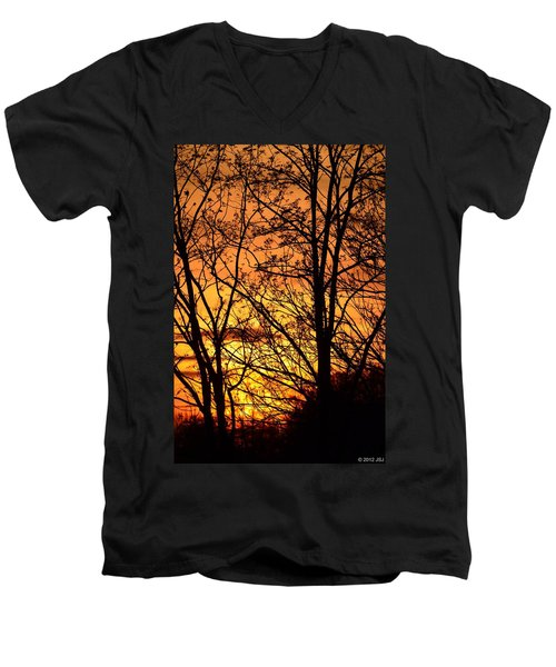 Sunset Silhouettes Behind The George Washington Masonic Memorial Men's V-Neck T-Shirt by Jeff at JSJ Photography