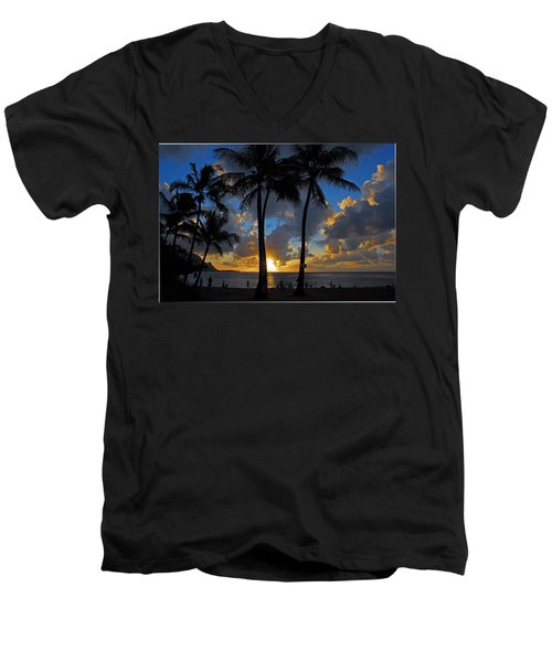 Men's V-Neck T-Shirt featuring the photograph Sunset Silhouettes by Lynn Bauer