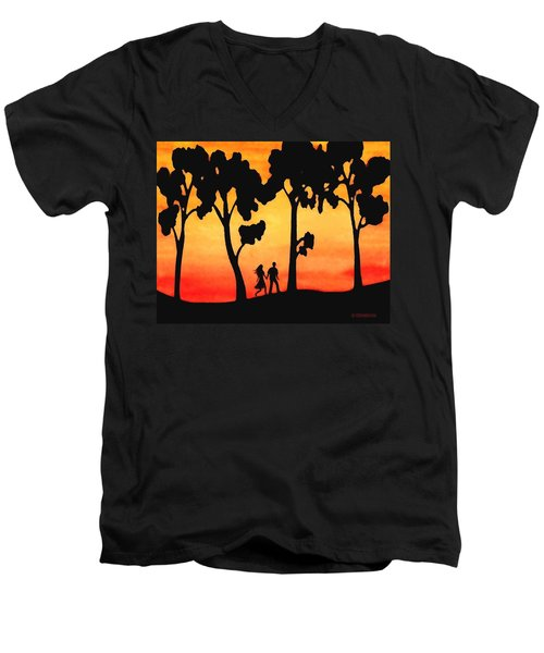 Sunset Walk Men's V-Neck T-Shirt by Sophia Schmierer