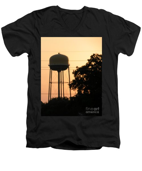 Sunset Water Tower Men's V-Neck T-Shirt by Joseph Baril