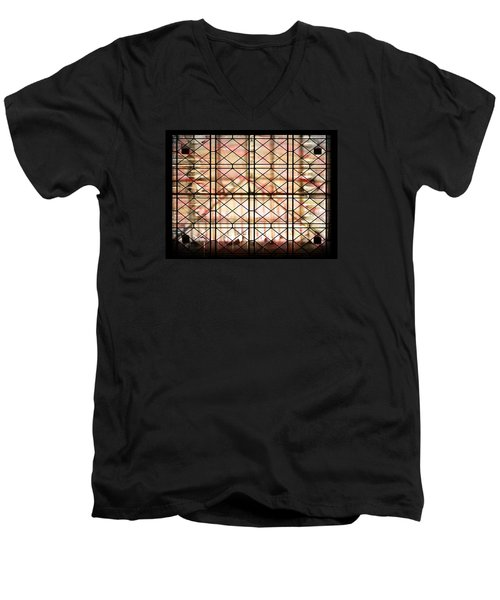Men's V-Neck T-Shirt featuring the photograph Sunset Window by Paula Ayers