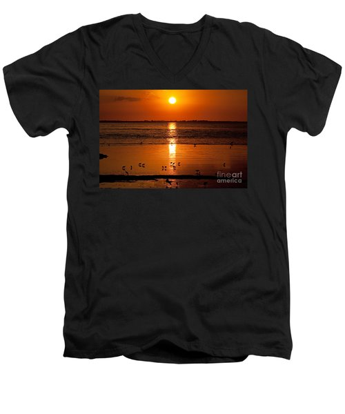 Men's V-Neck T-Shirt featuring the photograph Sunset With The Birds Photo by Meg Rousher