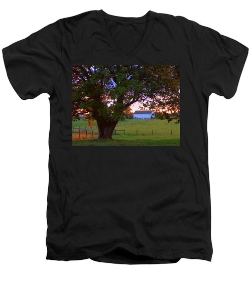 Men's V-Neck T-Shirt featuring the photograph Sunset With Tree by Joseph Skompski