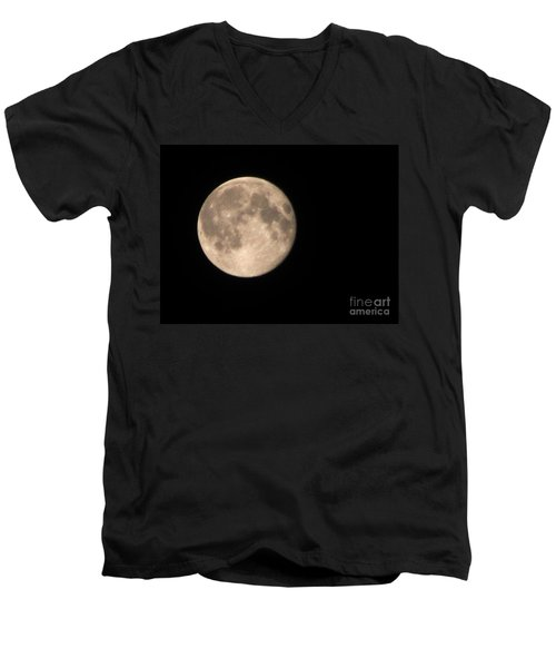 Super Moon Men's V-Neck T-Shirt by David Millenheft